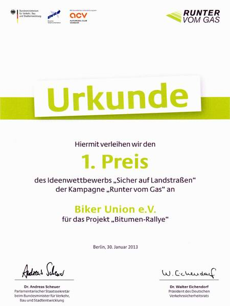 Urkunde F 252 R Biker Union E V R O C K E R N E W S